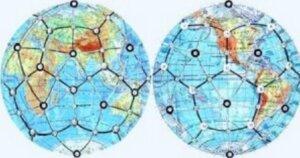 карта полушарий с кристаллической сеткой